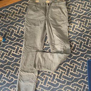 J crew men's flannel lined pants khakis 32